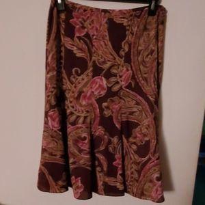 Jones Wear Brown Pink Floral Print Midi Skirt 10